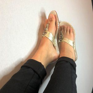 WORN ONCE - GUESS gold  sandals w/ sequin detail